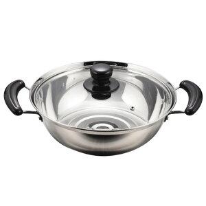 オール熱源対応のよせ鍋です。ガラス蓋付き。 製造国:中国 素材・材質:本体:ステンレス鋼取っ手:フェノール樹脂ガラス蓋:強化ガラス(全面物理強化)蓋金属部:ステンレス鋼蓋つまみ:フェノ