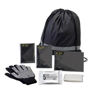 ライフグッズ 生活用品 関連 防災害 非常用 反射テープ付き ブラック 巾着リュックバッグ 7点セット 50755 おすすめ 送料無料 おしゃれ