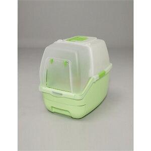 ペットトイレ ネコ用トイレ フルカバー 楽ちん猫トイレ フード付きセット カラー:グリーン