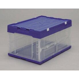 コンテナボックス フタ付き、の折りたたみコンテナ 人気 ハード折りたたみコンテナフタ一体型 ブルー/クリア