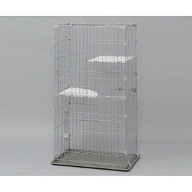 猫 ケージ ペット ゲージ 室内 ネコに最適な2段タイプのケージ!2段 シルバー