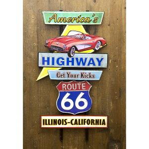 ブリキ デコレーション プレート アメリカンスタイルウォールデコ America's Highway