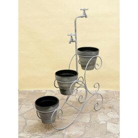 庭造り インテリア 陶器 ウォールプランター H/Dスタンド ワゴン カラー:Grey