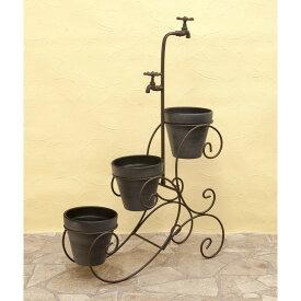 庭造り お洒落 鉄 ウォールプランター H/Dスタンド ワゴン カラー:Brown
