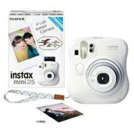 カメラ関連 INSTAXMINI25-WHT インスタントカメラ instax mini 25 『チェキ』 ホワイト 純正ハンドストラップ付き
