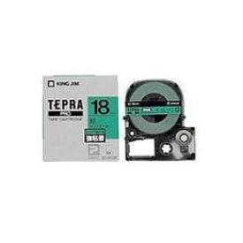 便利雑貨 SC18GW テプラPROテープ 強粘着ラベル 緑 黒文字 18mm