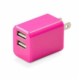 日用品 日本トラストテクノロジー ハイパワー2.4A出力 USB充電器 cubeタイプ224 ピンク CUBEAC224PK