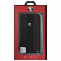 Alfa Romeo 公式ライセンス品 High Quality Carbon Synthettic Leather book case w/card holder Black iPhone6 PLUS用 AR-SSHFCIP6P-4C/D5-BK