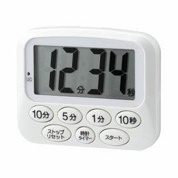 便利雑貨 光るデジタルタイマー時計付き ホワイト T42WH