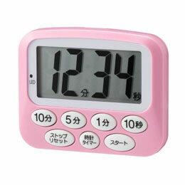 便利雑貨 光るデジタルタイマー時計付き ピンク T42PK