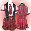 コスプレセーラー赤チェック柄!半袖ブラウス・ベスト・プリーツスカート・ネクタイセットMサイズ