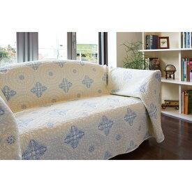 ベッドスプレッド 清涼感のある風合い インテリア マルチカバー 200×200cm ブルー