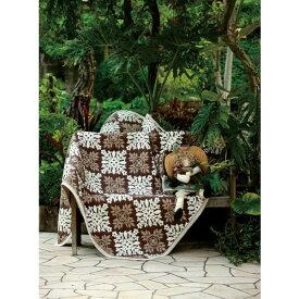 ラグ カーペット ハワイアン柄のデザインで 人気商品 マルチカバー 190×190cm ブラウン