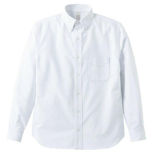 ファッション オックスフォードボタウンダウンワンウォッシュ長袖シャツ OXホワイト S