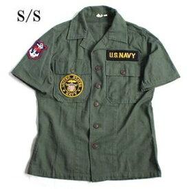 スポーツ・アウトドア アウトドア ウェア レインウェア 関連 USタイプ OG-107 ファティーグシャツ カスタム NAVY 半袖 13 1/2(レディースフリー)