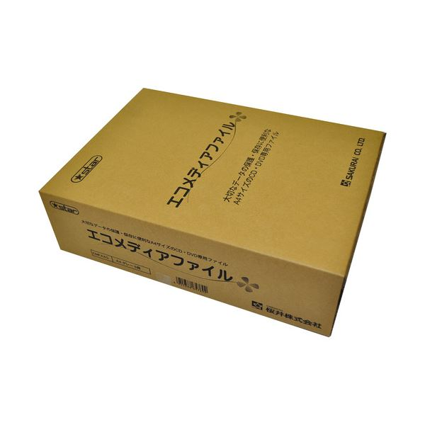 パソコン・周辺機器 (まとめ) 桜井 エコメディアファイル スリムA4 6穴 グレー EMFA4GS 1パック(5冊) 【×4セット】