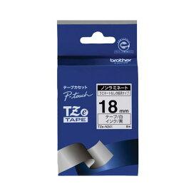 (まとめ) ブラザー BROTHER ピータッチ TZeテープ ノンラミネートテープ 18mm 白/黒文字 TZE-N241 1個 【×4セット】
