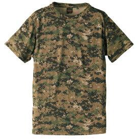 自衛隊海外派遣使用・立体裁断・吸汗速乾さらさらドライ迷彩TシャツピクセルウッドランドL