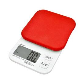 生活 雑貨 通販 (まとめ)DRETEC シリコンカバー付で0.1g単位ではかれる3kg計 デジタルスケール 「クイニー」 3kg レッド KS-355RD KS-355RD【×2セット】