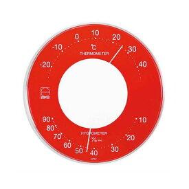 生活 雑貨 通販 EMPEX 温度・湿度計 セレナカラー 丸型 置き掛け兼用 LV-4355 レッド