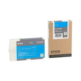 AV・デジモノ (まとめ) エプソン EPSON インクカートリッジ シアン Mサイズ ICC54M 1個 【×3セット】