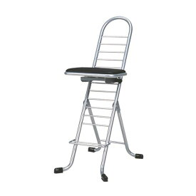 シンプル 折りたたみ椅子 【ブラック×シルバー】 幅420mm 日本製 スチールパイプ 『プロワークチェア スイング』【代引不可】