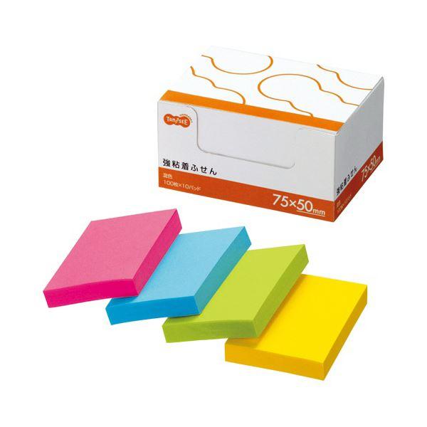 付箋紙・ポストイット関連 TANOSEE 強粘着ふせん75×50mm 4色 1セット(30冊:10冊×3パック)