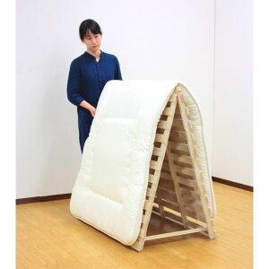 すのこベッド 折りたたみ 裏面には床を傷つけにくい樹脂製クッション付き。 家具 スタンド式すのこベッド ダブル