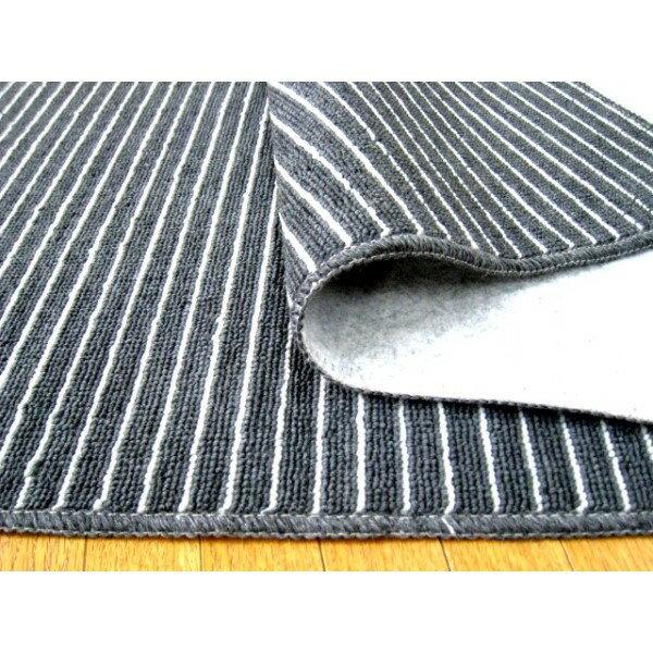 ブラック ストライプ お洒落 日本製 フリーカットができる折り畳みカーペット 江戸間 3帖 176x261 黒