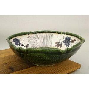 日本製 円皿 楕円 織部ぶどう 大鉢 美濃焼武山窯