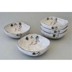 日本製 ギフト 楕円 蔦ぶどう 平鉢揃(5個セット) 取り皿 丸皿 小鉢