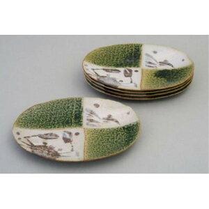 日本製 ギフト 丸い 織部カニ絵 銘々皿揃(5枚セット) 取り皿 丸皿