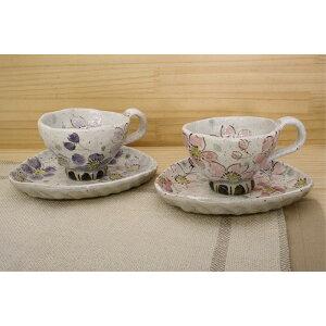 ティーカップ ケーキ皿 春を感じる「季節の器」粉引色桜(紅) コーヒー碗皿 コーヒーカップ