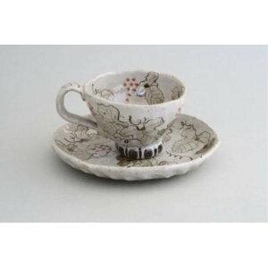カップ ソーサー ケーキ皿 「亜福窯」 染ぶどう コーヒー碗皿(紅) コーヒーカップ