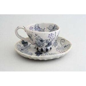 マグカップ ケーキ皿 「亜福窯」 染ぶどう コーヒー碗皿(紫) コーヒーカップ