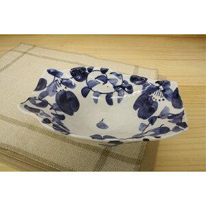日本製 円皿 楕円 「春を感じる器」染付唐草 盛鉢 多盛鉢 大鉢 大皿 預け鉢