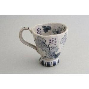 ティーカップ ケーキ皿 おしゃれ 「亜福窯」 染ぶどう マグカップ(紫) パープル系