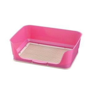 犬 トイレトレーニング ワンちゃんの成長に合わせて、トイレ もステップアップ! おしゃれ しつけ用ステップ壁付きトイレ レギュラー ピンク(P)