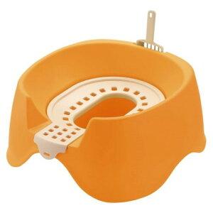 猫用トイレ 猫砂 をムダなく使える! 素敵な 節約簡単ネコトイレ オレンジ(O)