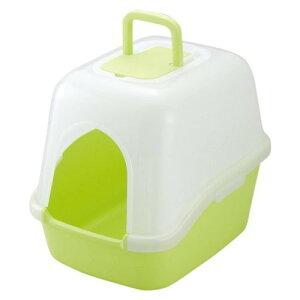 猫 トイレ 専用 スコップ と脱臭剤付 簡単 フード付ネコトイレ グリーン(GR)