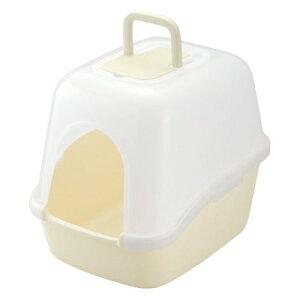 ペット用品 トイレ 専用 スコップ と脱臭剤付 かわいい フード付ネコトイレ アイボリー(IV)