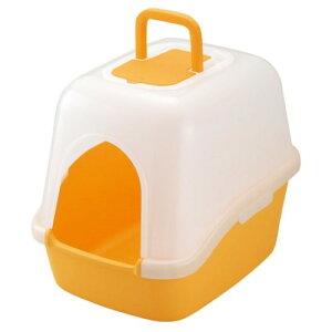 ペット用品 トイレ 専用 スコップ と脱臭剤付 ペット用品 フード付ネコトイレ オレンジ(O)