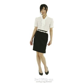女教師 コスプレ!!高校 女子教員 制服 白 半袖ブラウス 黒スカート ベルト!大きいサイズ Lサイズハロウィン 仮装 ハロイン halloween costume ハローウィン