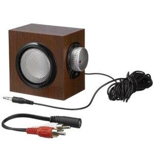 コンパクトサイズ シンプルデザイン 使いやすい 大きい つまみ 木目柄 手元スピーカー ウッド ミニスピーカー