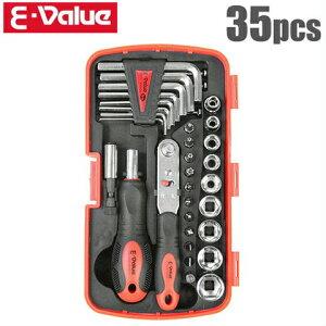 E-Value ラチェットドライバー ラチェットレンチセット 35pcs EMT-35C [工具セット ツールセット]