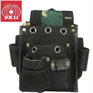 SK11 腰袋 電工袋 2段ポケット付工具差し SCB-5 迷彩柄 [工具袋 おしゃれ 釘袋 プロ仕様 ベルト通し付き バッグ]