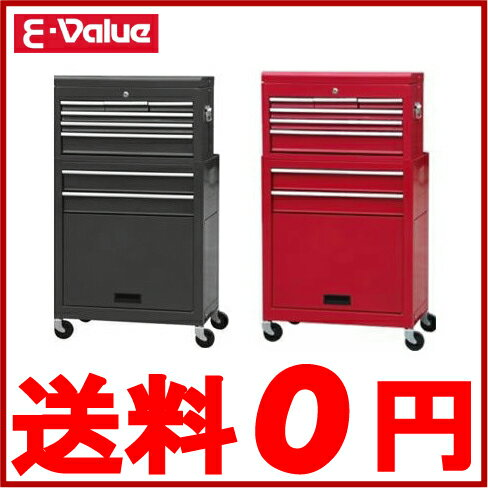 E-Value 工具箱 キャスター付 キャビネット チェスト ETR108R(BK) [黒・赤 おしゃれ ツールボックス 引き出し]
