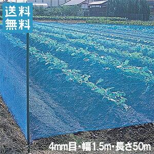 防風ネット(青) 網目4mm×1.5m×50m[防風網 農業資材 園芸用品 防砂 防塵]