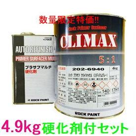 (数量限定)ロックペイント 202-6940 プラサフクライマックス(ミディアムグレー) 202-0110 硬化剤付セット 4.9kg