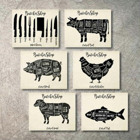 Shop Poster Prints 6枚セット 肉屋 ステーキ ステーキハウス アメリカンダイナー ポスター アメリカ 部位 焼肉 レストラン アメリカ 店舗 アートポスター 飲食店